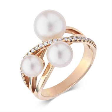 18ct Rose Gold Pearl and Diamond Crossover Ring thumbnail