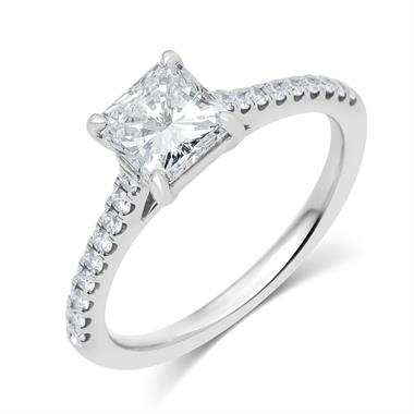 Platinum Radiant Cut Diamond Solitaire Engagement Ring 1.25ct thumbnail