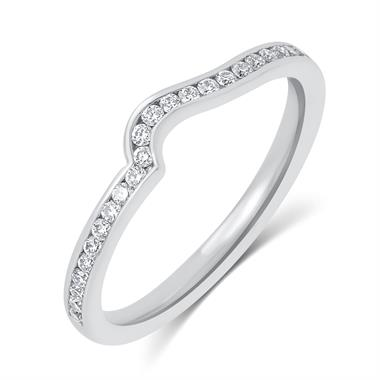Platinum Diamond Set Shaped Wedding Ring 0.25ct thumbnail