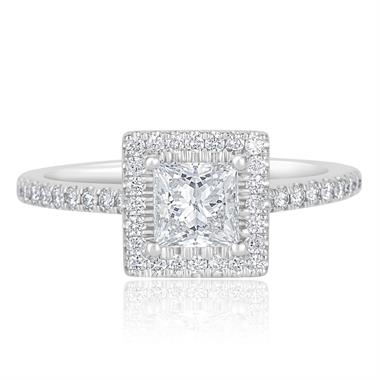 Platinum Princess Cut Diamond Halo Engagement Ring 1.10ct thumbnail