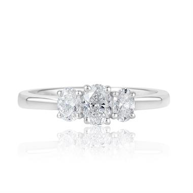 Platinum Oval Diamond Three Stone Engagement Ring 0.66ct thumbnail
