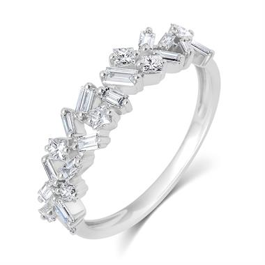 Stardust 18ct White Gold Baguette Cut and Round Diamond Dress Ring 0.57ct thumbnail