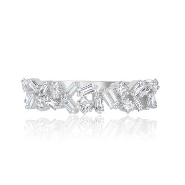 Stardust 18ct White Gold Baguette Cut and Princess Diamond Dress Ring 0.57ct thumbnail