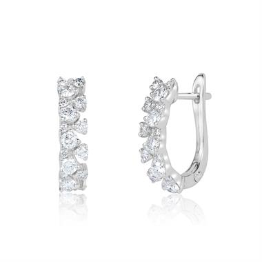 18ct White Gold Fine Petal Design Diamond Hoop Earrings 0.64ct thumbnail