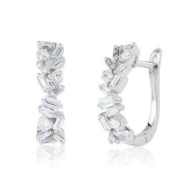 Stardust 18ct White Gold Baguette and Princess Cut Diamond Hoop Earrings 0.70ct thumbnail