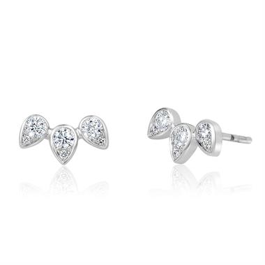 18ct White Gold Diamond Stud Earrings 0.38ct thumbnail