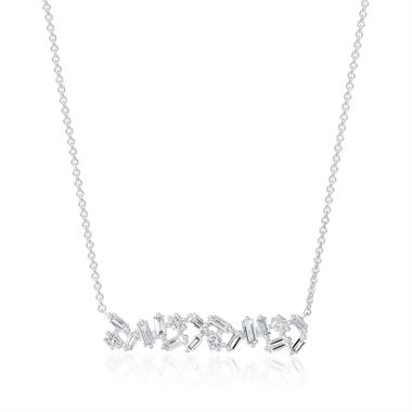 18ct White Gold Random Baguette Diamond Necklace thumbnail
