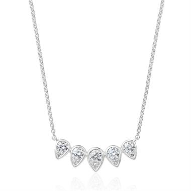 18ct White Gold Diamond Graduated Teardrop Necklace thumbnail