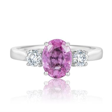 Platinum Pink Sapphire and Diamond Three Stone Ring thumbnail