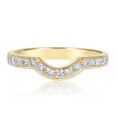 18ct Yellow Gold Diamond Set Shaped Wedding Ring thumbnail