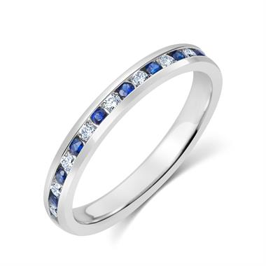18ct White Gold Sapphire and Diamond Channel Eternity Ring thumbnail