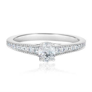 Platinum Oval Diamond Solitaire Engagement Ring 0.55ct thumbnail