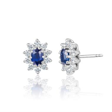 18ct White Gold Sapphire and Diamond Oval Cluster Earrings thumbnail