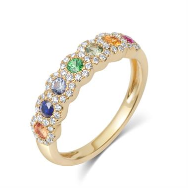 Samba 18ct Yellow Gold Halo Detail Rainbow Sapphire and Diamond Dress Ring thumbnail