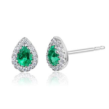 18ct White Gold Pear Shape Emerald and Diamond Cluster Stud Earrings thumbnail
