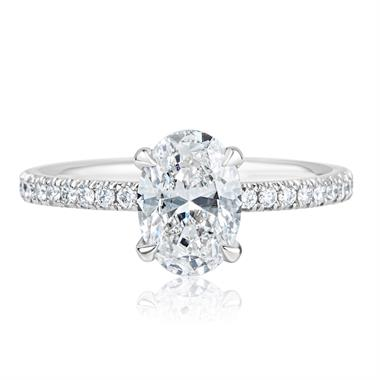 Platinum Oval Diamond Solitaire Engagement Ring 1.39ct thumbnail