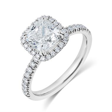 Platinum Cushion Cut Diamond Halo Engagement Ring 2.19ct thumbnail