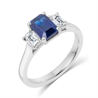 Platinum Sapphire and Diamond Three Stone Ring thumbnail