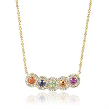 Samba 18ct Yellow Gold Rainbow Sapphire and Diamond Necklace thumbnail