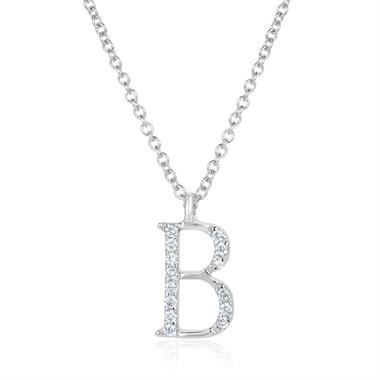 18ct White Gold Diamond Initial B Necklace thumbnail