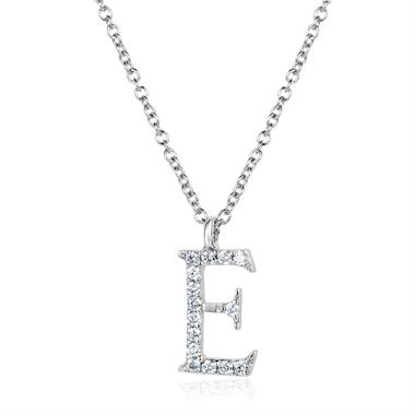 18ct White Gold Diamond Initial E Necklace thumbnail