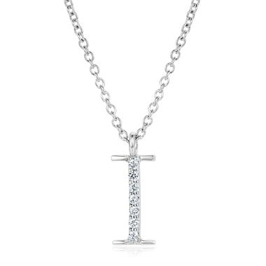 18ct White Gold Diamond Initial I Necklace thumbnail