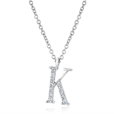 18ct White Gold Diamond Initial Necklace K thumbnail