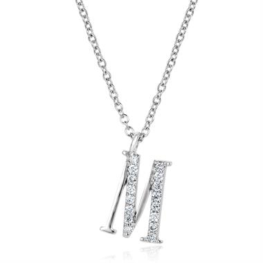 18ct White Gold Diamond Initial M Necklace thumbnail