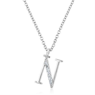 18ct White Gold Diamond Initial N Necklace thumbnail