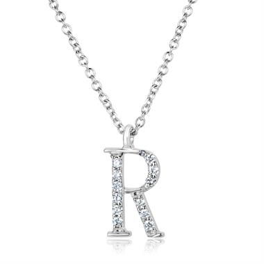 18ct White Gold Diamond Initial R Necklace thumbnail