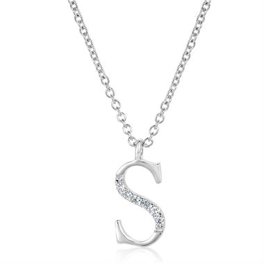 18ct White Gold Diamond Initial S Necklace thumbnail
