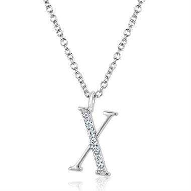 18ct White Gold Diamond Initial X Necklace thumbnail