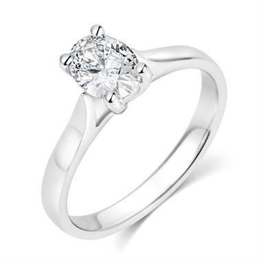 Platinum 0.70ct Diamond Oval Cut Solitaire Ring thumbnail