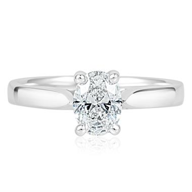 Platinum Oval Diamond Solitaire Engagement Ring 0.70ct thumbnail
