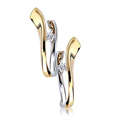 18ct Yellow and White Gold Diamond Hoop Earrings thumbnail