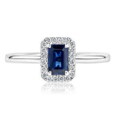 Platinum Emerald-Cut Sapphire Halo Diamond Ring thumbnail