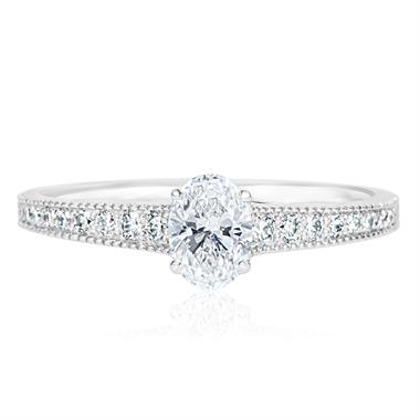 Platinum Oval Diamond Solitaire Engagement Ring 0.75ct thumbnail