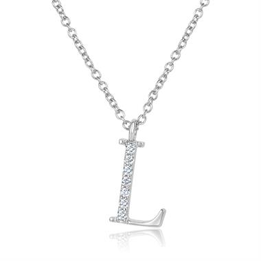 18ct White Gold Diamond Initial L Necklace thumbnail