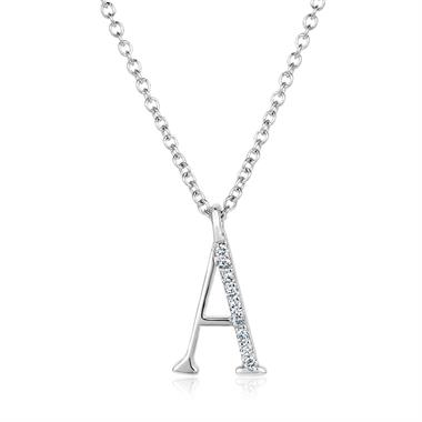 18ct White Gold Diamond Initial A Necklace thumbnail