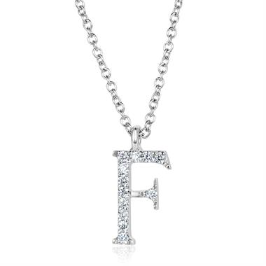 18ct White Gold Diamond Initial F Necklace thumbnail