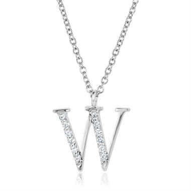 18ct White Gold Diamond Initial W Necklace thumbnail