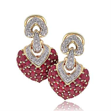 18ct Yellow Gold Statement Ruby and Diamond Heart Earrings thumbnail