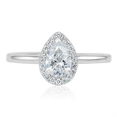 Platinum Pear Shape Diamond Halo Engagement Ring 0.85ct thumbnail