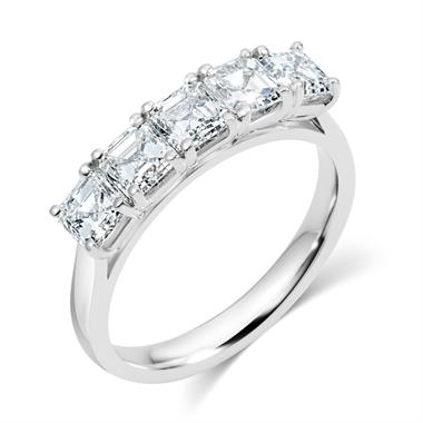 Platinum Asscher Cut Diamond Five Stone Engagement Ring 1.99ct thumbnail