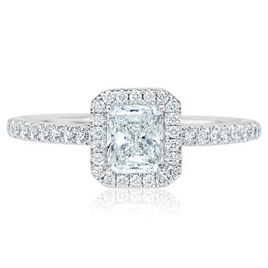 Platinum Radiant Cut Diamond Halo Engagement Ring 1.00ct thumbnail