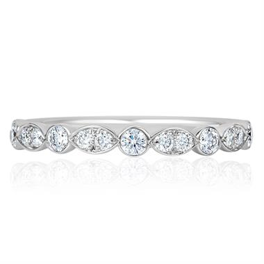 Platinum Diamond Shaped Band with Milgrain Detail thumbnail