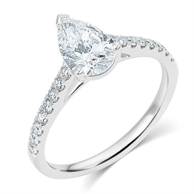 Platinum Pear Shape Diamond Solitaire Engagement Ring 1.30ct thumbnail