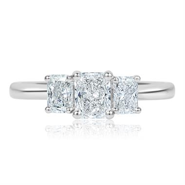 Platinum Radiant Cut Diamond Three Stone Engagement Ring 1.06ct thumbnail