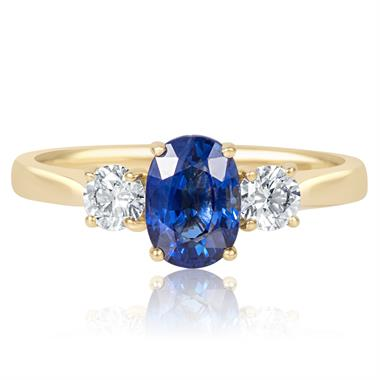 18ct Yellow Gold Oval Sapphire and Diamond Ring thumbnail