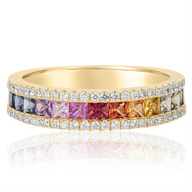 Samba 18ct Yellow Gold Rainbow Sapphire Three Row Ring thumbnail